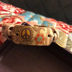 New leather and hemp peace signs bracelets